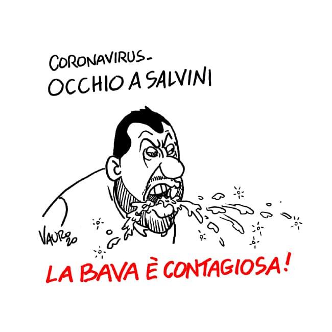 """Coronavirus, la vignetta di Vauro fa infuriare Salvini: """"Non"""
