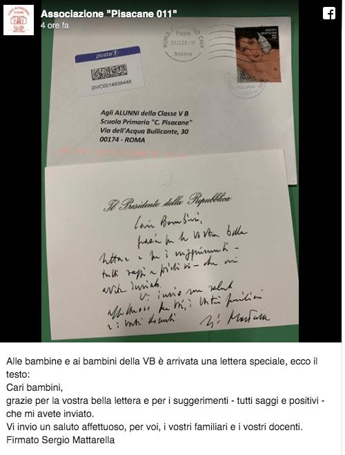 """""""Cari bambini"""", la lettera di Mattarella agli allievi della"""
