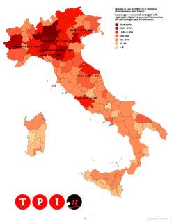 Coronavirus, la mappa del contagio in Italia di oggi, 31 mar