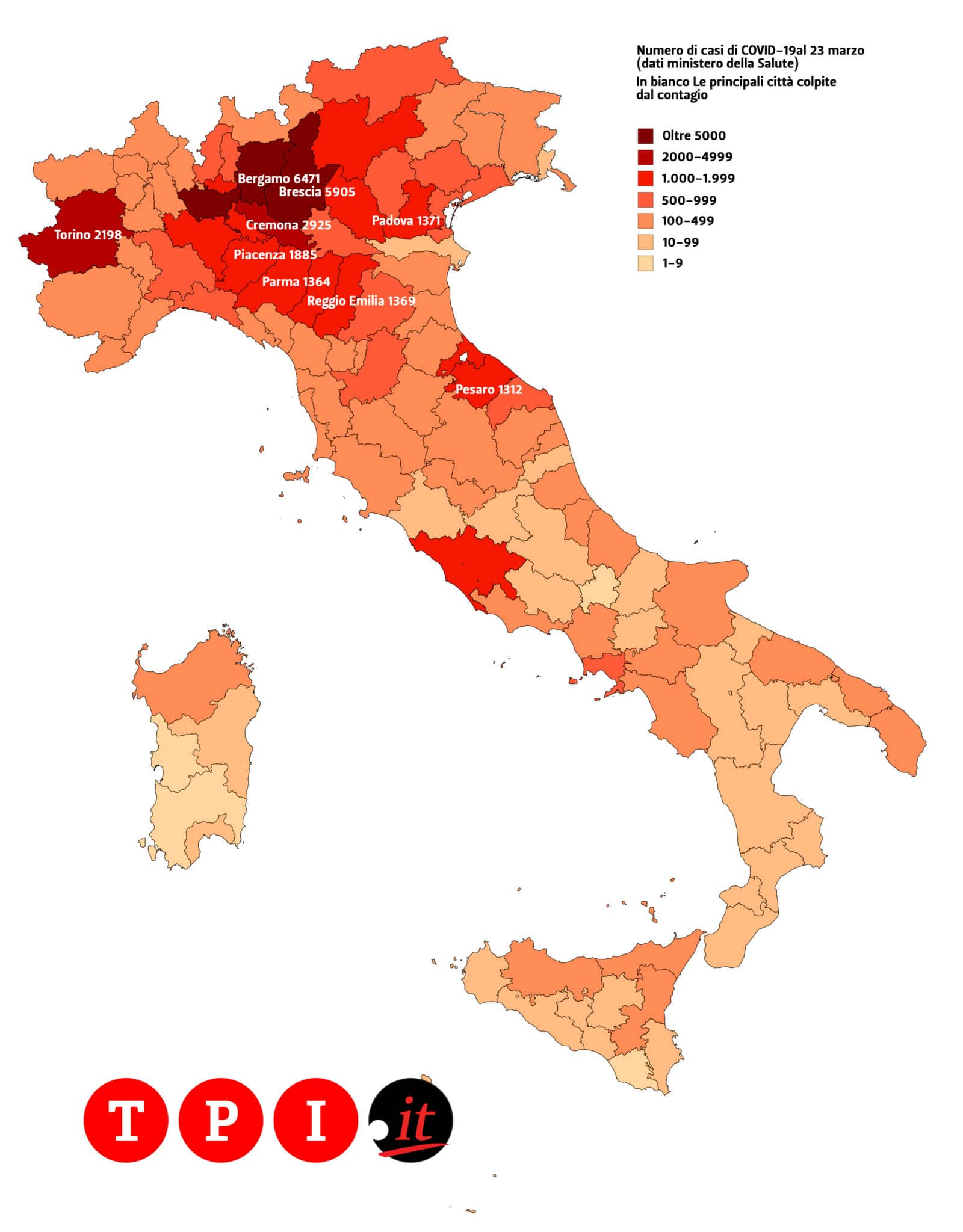 coronavirus italia mappa contagi