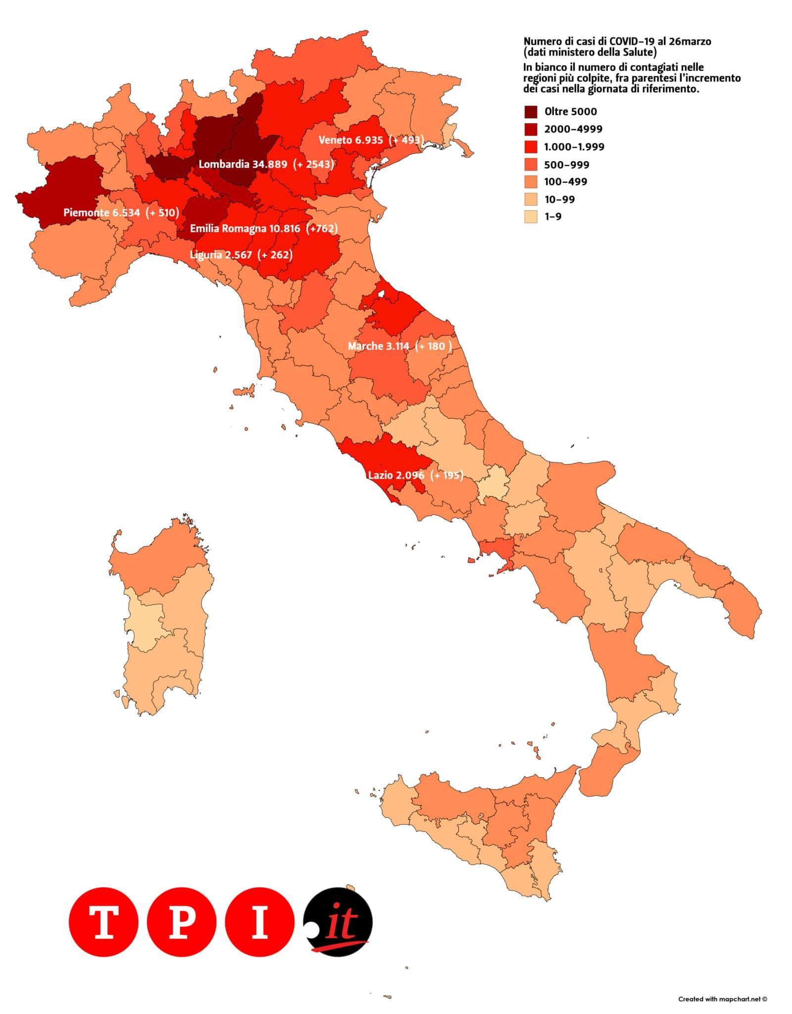 coronavirus mappa contagi italia