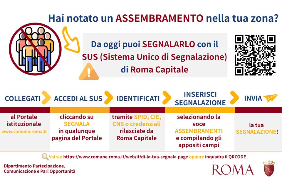 coronavirus roma segnala assembramento