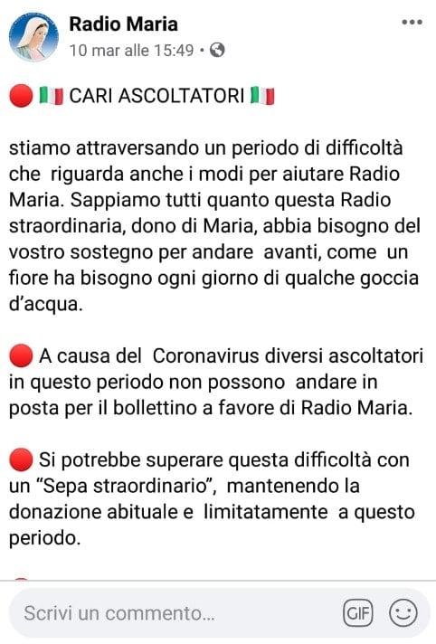 radio maria coronavirus
