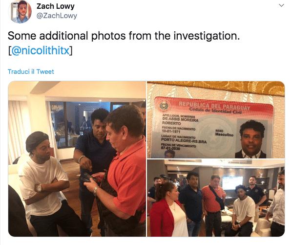 ronaldinho passaporto falso arrestato