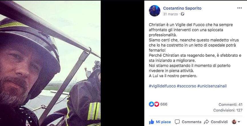L'omaggio dei Vigili del Fuoco al collega morto di Coronavir