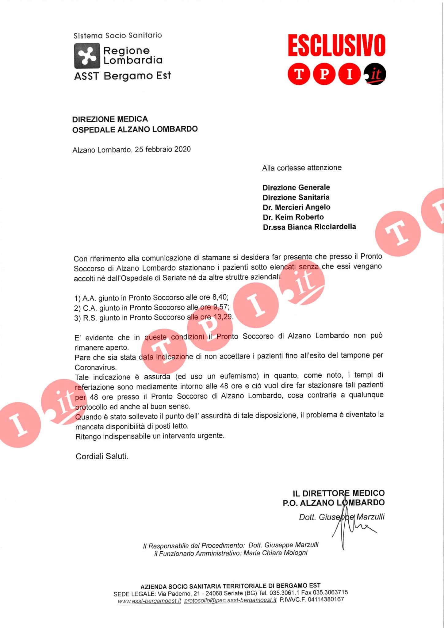 esclusivo tpi lettera direttore ospedale alzano lombardo documento