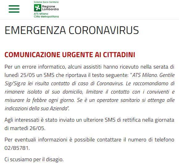 ats milano coronavirus sms