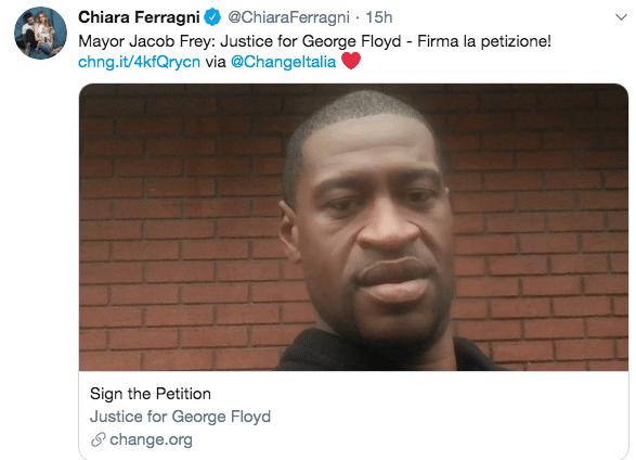 Il gesto di Chiara Ferragni per chiedere giustizia sulla mor