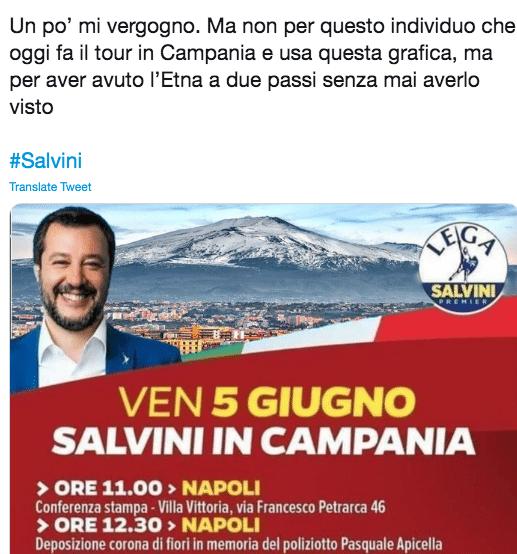 Salvini, il manifesto del tour in Campania con la foto dell'
