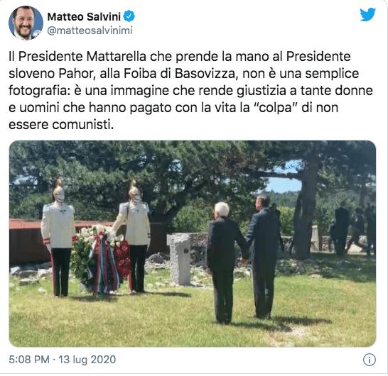 """Foibe, Salvini commenta la foto di Mattarella: """"Un omaggio a"""
