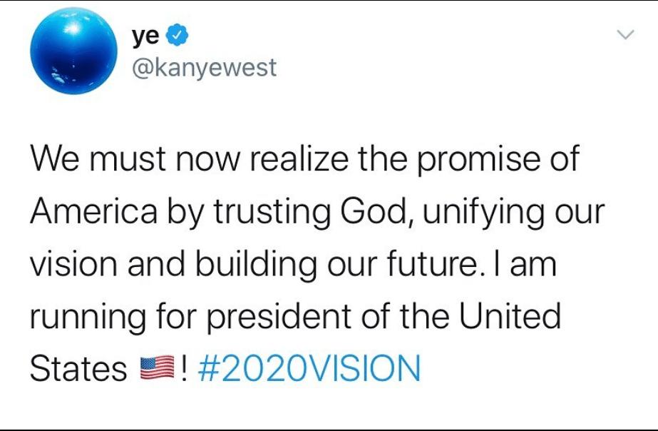 Kanye West vuole diventare presidente degli Stati Uniti. L'a