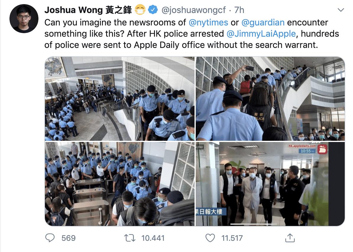 """Hong Kong, arrestato l'editore pro democrazia Jimmy Lai: """"Ha violato la nuova legge sulla sicurezza"""". Joshua Wong: """"È la fine della libertà stampa"""""""