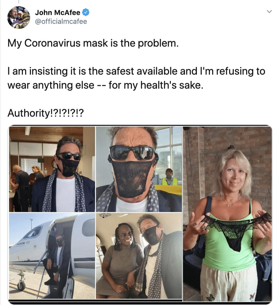 """Indossava un tanga come mascherina: arrestato in Norvegia John McAfee, """"papà"""" del primo antivirus per computer"""