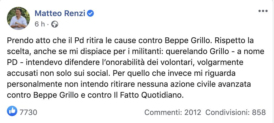 """Pd M5S, scoppia la pace anche in tribunale: """"Stop alle cause che ci vedevano contrapposti, cambiato clima politico"""". Renzi: """"Io non le ritiro"""""""