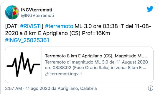 Terremoto nel Cosentino, scossa di magnitudo 3.7: persone in strada