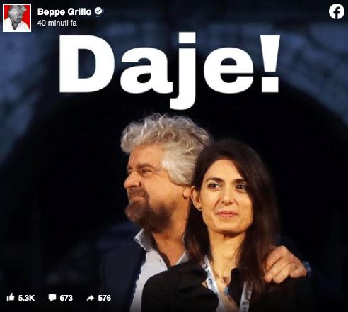 Roma, l'endorsement di Beppe Grillo alla ricandidatura di Raggi