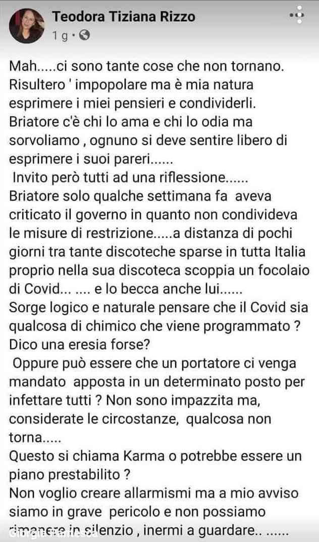 candidata fratelli d'italia covid briatore