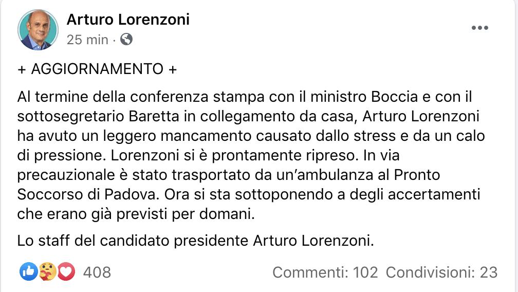 lorenzoni malore