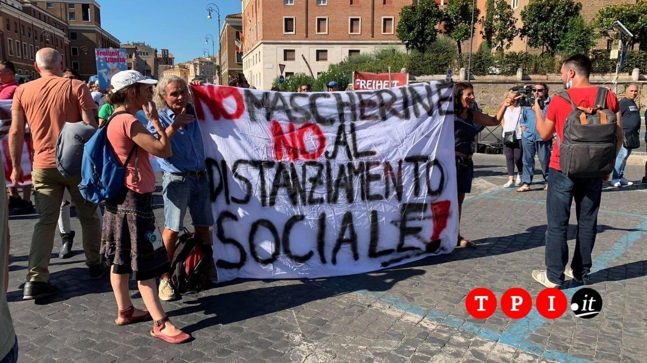 manifestazione no mask roma oggi 5 settembre