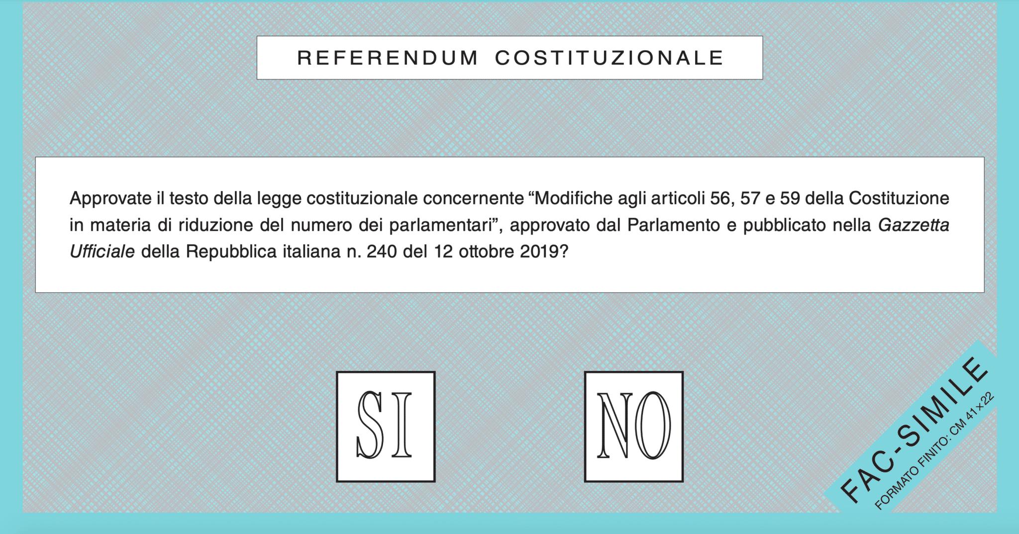 referendum taglio parlamentari quesito
