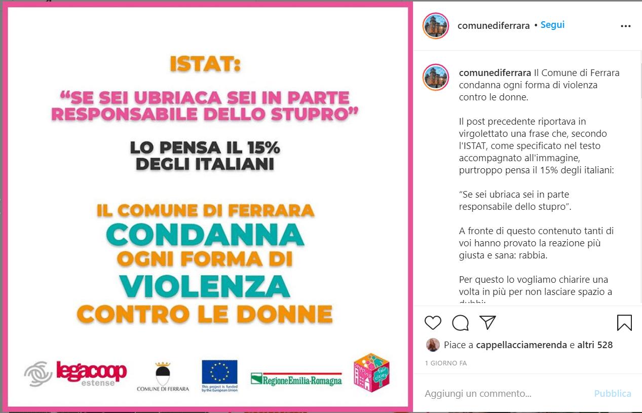 """""""Se sei ubriaca sei in parte responsabile dello stupro"""": polemica per il post del comune di Ferrara. Ma non è come sembra"""