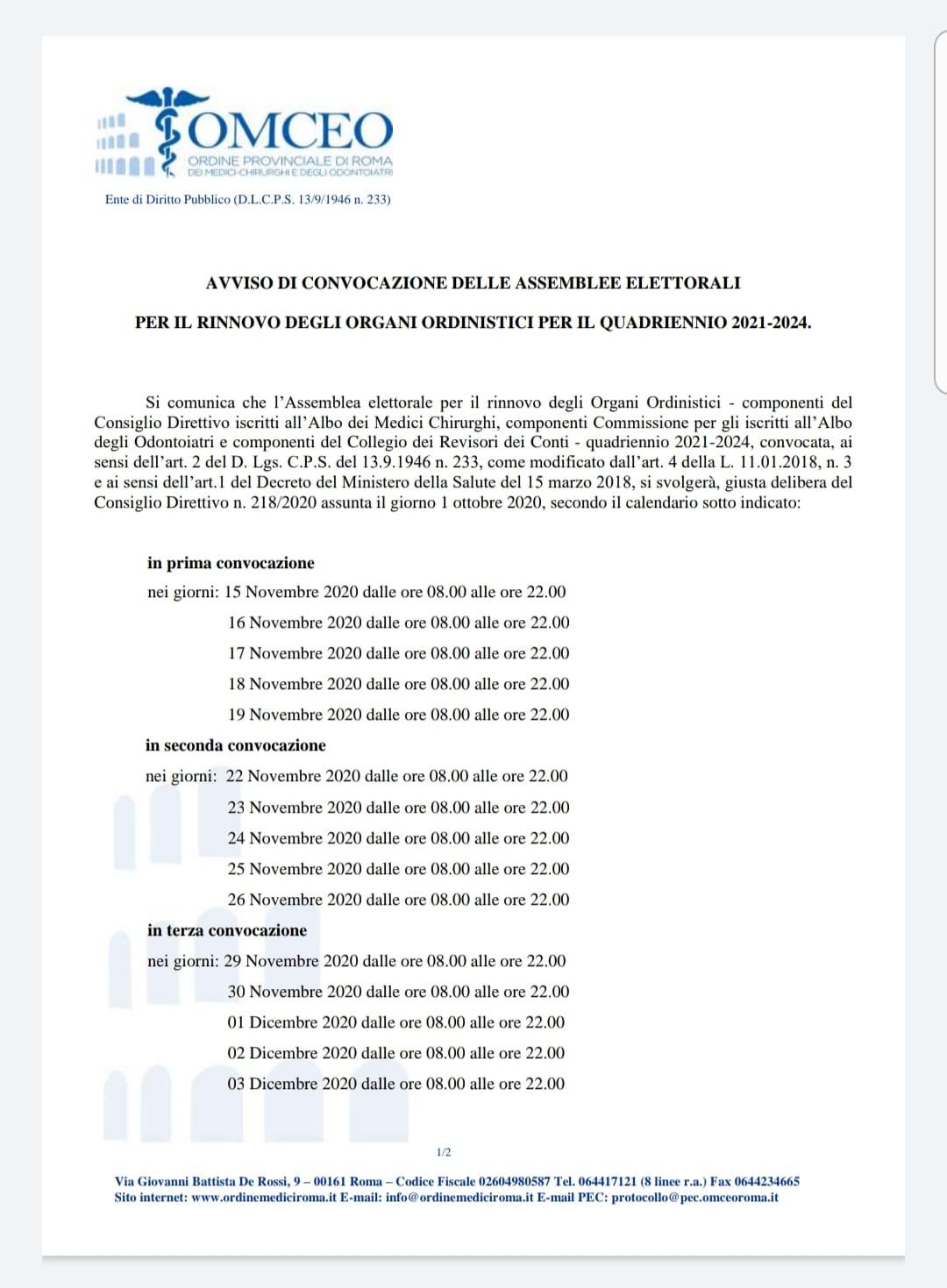 Convocazione elezioni ordine roma 2