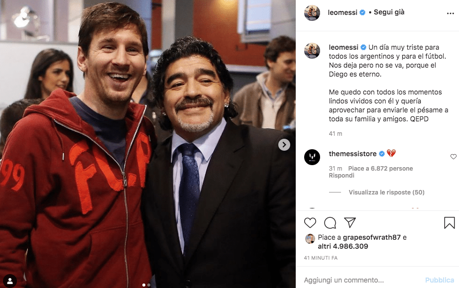 Messi maradona morto oggi
