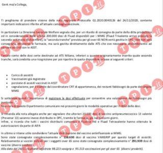 Vaccino Lombardia, un documento riservato di ATS Milano ...