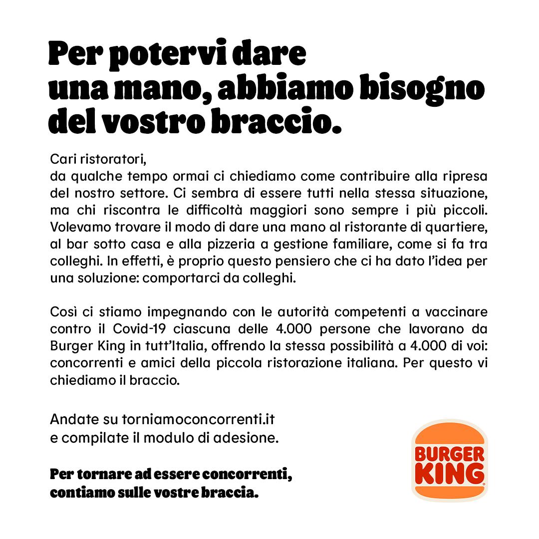 burger king vaccino