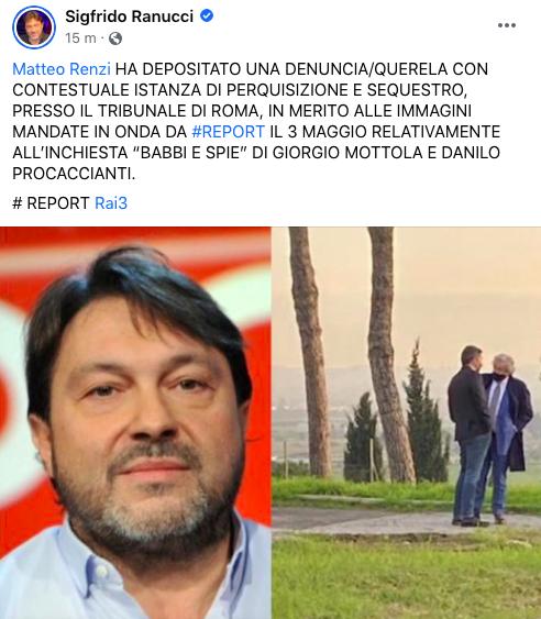 "Caso 007, Matteo Renzi querela Report: ""Vicenda orchestrata, servono verifiche"""