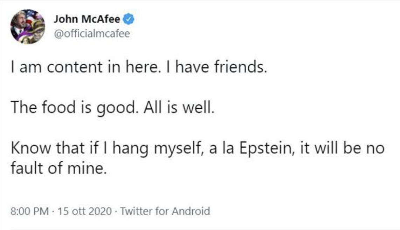 John McAfee morto